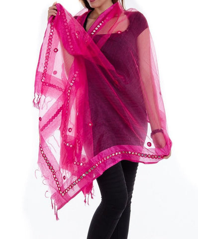 Pink Color Chanderi Tissue Net Dupatta - PLM04