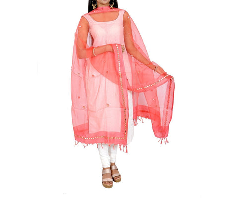 Peach Color Chanderi Tissue Net Dupatta - PLM05