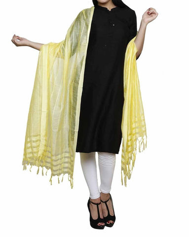 Yellow Color Chanderi Tissue Net Dupatta - PLM06
