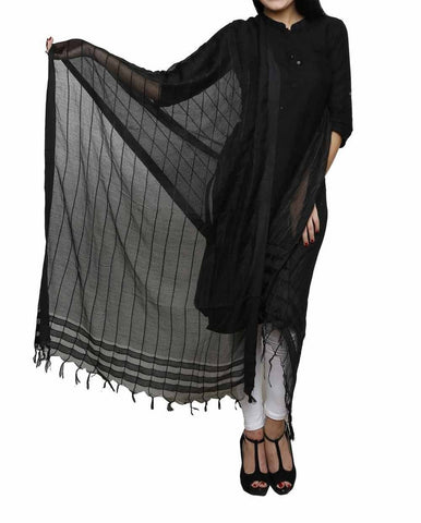 Black Color Chanderi Tissue Net Dupatta - PLM08