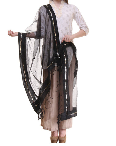 Black Color Chanderi Tissue Net Dupatta - PLM09