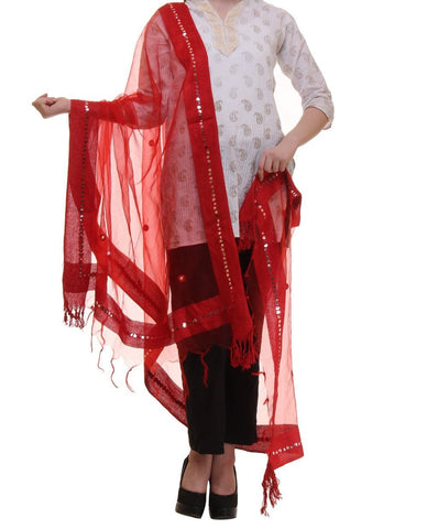 Red Color Chanderi Tissue Net Dupatta - PLM10