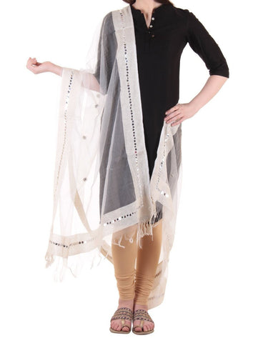 White Color Chanderi Tissue Net Dupatta - PLM11