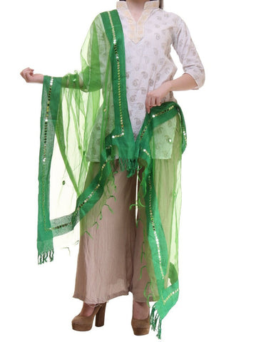 Green Color Chanderi Tissue Net Dupatta - PLM12