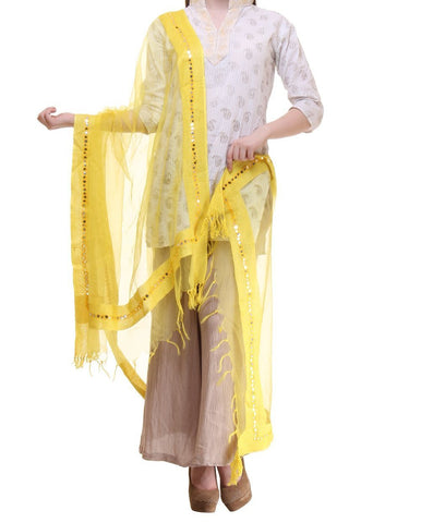 Yellow Color Chanderi Tissue Net Dupatta - PLM13