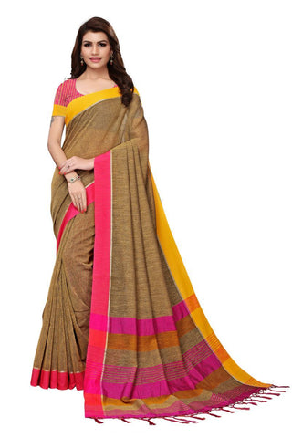 Beige Color Linen Saree - PLNNK11