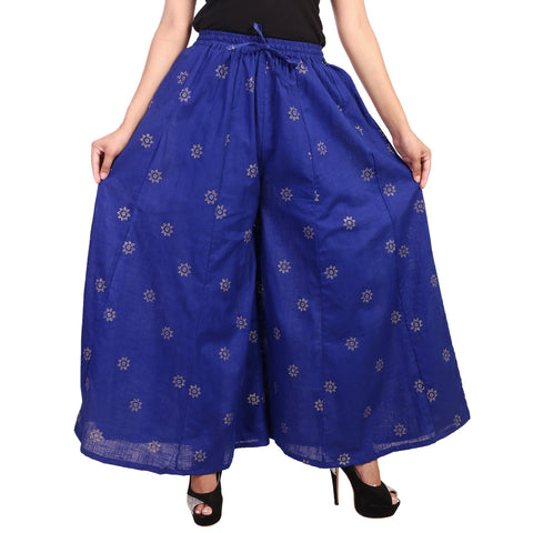 Royal Blue Color Rayon Stitched Palazzo - PLZ0241