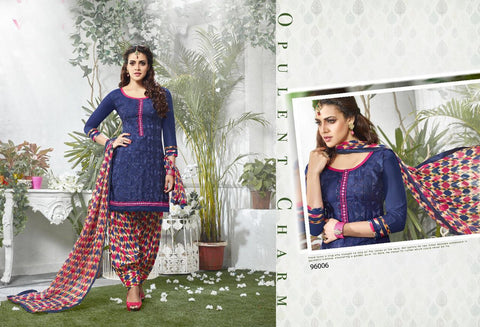 Dark Blue Color Glaze Cotton UnStitched Salwar  - PMN96006