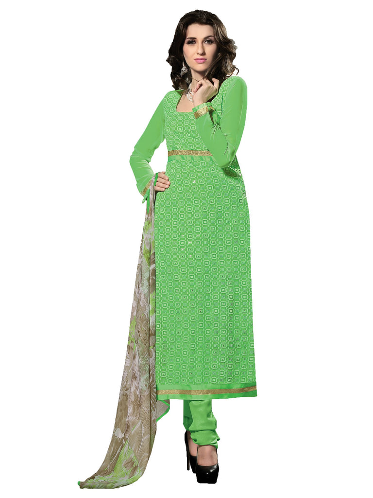 GreenColor 60 grm Georgette Semistitched Salwar