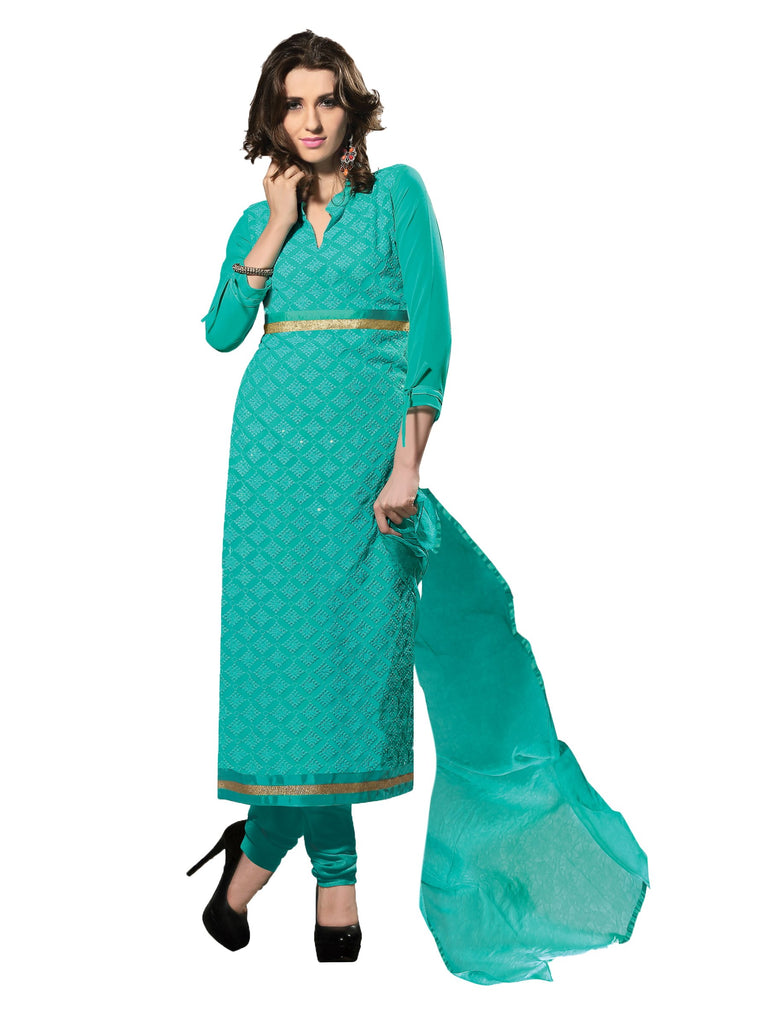 Sky BlueColor 60 grm Georgette Semistitched Salwar