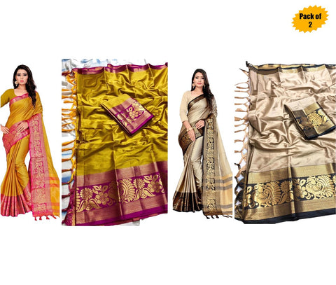 Pack of 2 - Multi Color Cotton Women's Saree - sar-7138,sar-3138