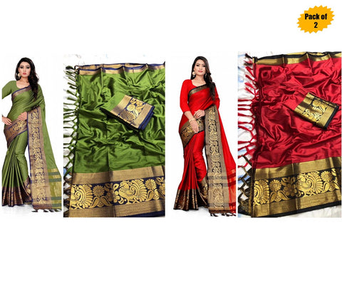 Pack of 2 - Multi Color Cotton Women's Saree - sar-2138,sar-1138