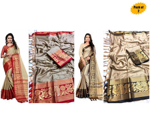 Pack of 2 - Multi Color Cotton Women's Saree - sar-4138,sar-7138