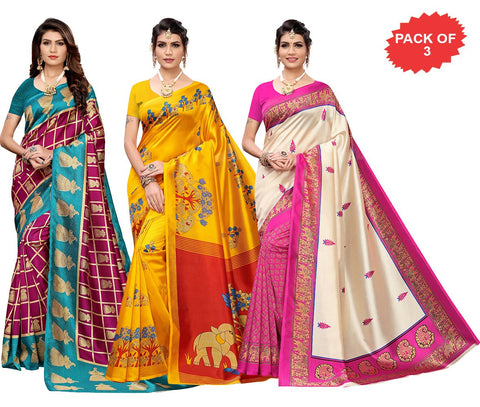 Pack of 3 - Multi Color Art Silk Women Sarees - S183525, S184446, S184456