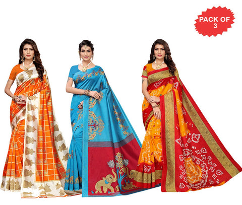 Pack of 3 - Multi Color Art Silk Women Sarees - S183530, S184444, S184968
