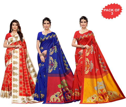 Pack of 3 - Multi Color Art Silk Women Sarees - S183532, S184445, S184449