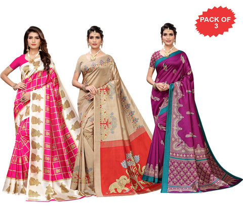 Pack of 3 - Multi Color Art Silk Women Sarees - S183533, S184447, S184463
