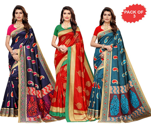 Pack of 3 - Multi Color Art Silk Women Sarees - S183571, S184611, S183572
