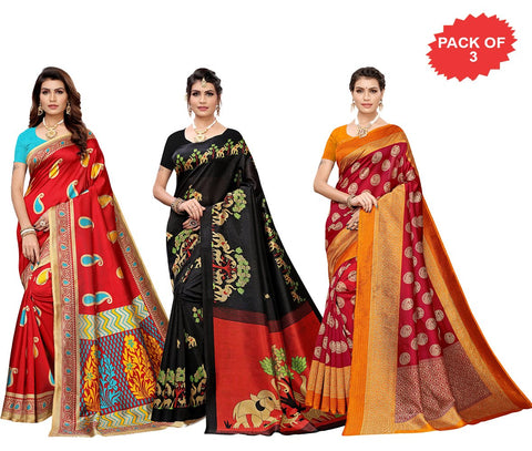 Pack of 3 - Multi Color Art Silk Women Sarees - S183573, S184448, S183653