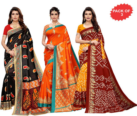 Pack of 3 - Multi Color Art Silk Women Sarees - S183574, S184459, S184430