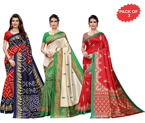Pack of 3 - Multi Color Art Silk Women Sarees - S184429, S184460, S184462