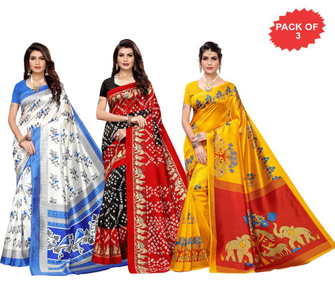 Pack of 3 - Multi Color Art Silk Women Sarees - S183513, S184437, S184446