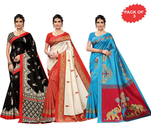 Pack of 3 - Multi Color Art Silk Women Sarees - S184457, S184454, S184444