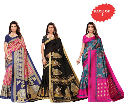 Pack of 3 - Multi Color Art Silk Women Sarees - S183377, S183408, S183410