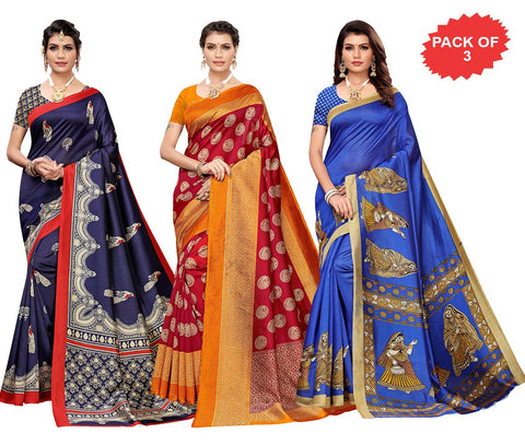 Pack of 3 - Multi Color Art Silk Women Sarees - S184461, S183653, S183409