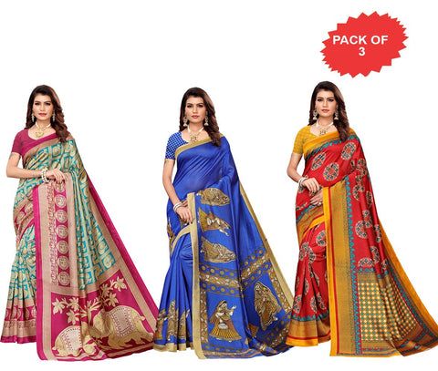 Pack of 3 - Multi Color Art Silk Women Sarees - S183378, S183409, S183411
