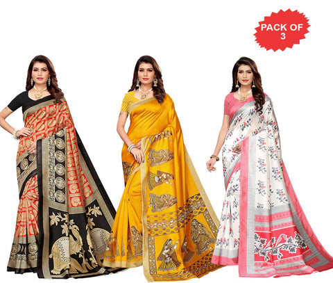Pack of 3 - Multi Color Art Silk Women Sarees - S183379, S183424, S183510