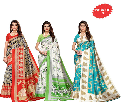Pack of 3 - Multi Color Art Silk Women Sarees - S183380, S183511, S183531
