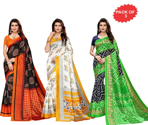 Pack of 3 - Multi Color Art Silk Women Sarees - S183412, S183512, S184428
