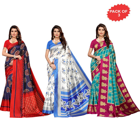 Pack of 3 - Multi Color Art Silk Women Sarees - S183413, S183513, S183523