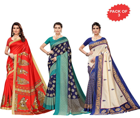 Pack of 3 - Multi Color Art Silk Women Sarees - S183425, S183652, S184455
