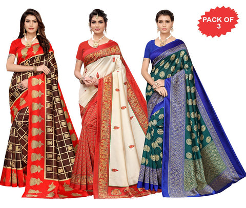 Pack of 3 - Multi Color Art Silk Women Sarees - S183522, S184454, S183650