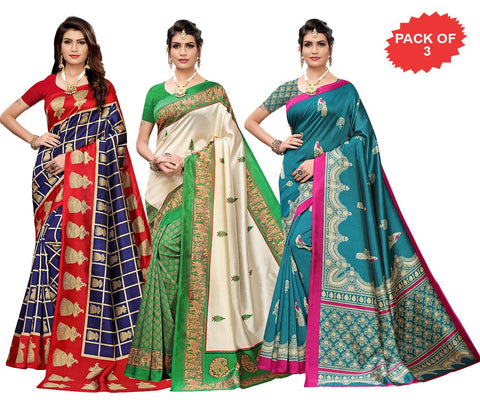 Pack of 3 - Multi Color Art Silk Women Sarees - S183524, S184460, S184458