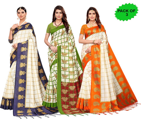 Pack of 3 - Multi Color Art Silk Jhalor Women's Sarees - S183183, S183787, S183214