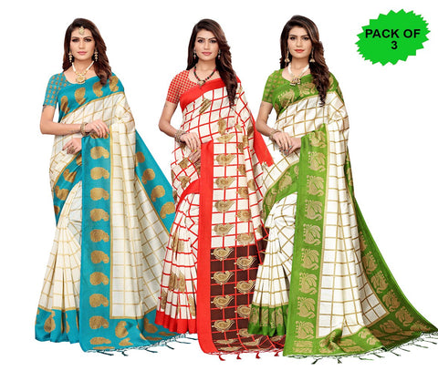Pack of 3 - Multi Color Art Silk Jhalor Women's Sarees - S183211, S183782, S183217