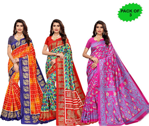 Pack of 3 - Multi Color Joya Silk Women's Sarees - S184595, S184598, S184971