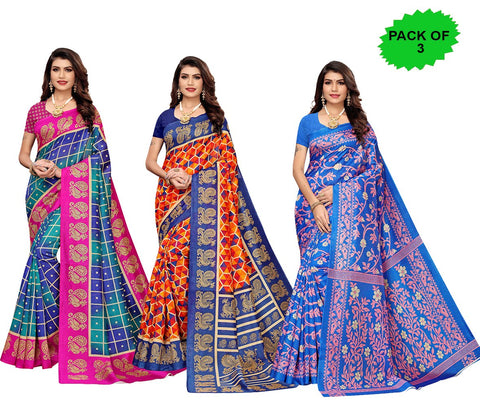 Pack of 3 - Multi Color Joya Silk Women's Sarees - S184596, S184599, S184972