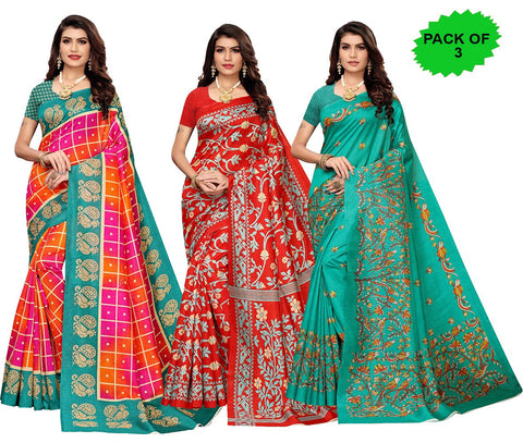 Pack of 3 - Multi Color Joya Silk Women's Sarees - S184597, S184970, S184987