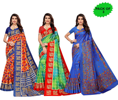 Pack of 3 - Multi Color Joya Silk Women's Sarees - S184985, S184599, S184609