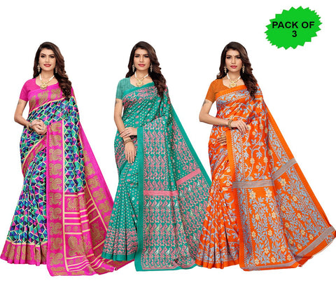 Pack of 3 - Multi Color Joya Silk Women's Sarees - S184600, S184974, S184973