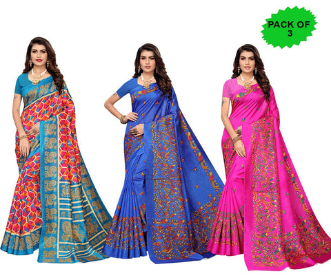 Pack of 3 - Multi Color Joya Silk Women's Sarees - S184984, S184609, S184601