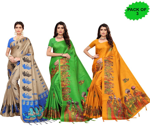 Pack of 3 - Multi Color Khadi Jhalor Women's Sarees - S183225, S184823, S184828