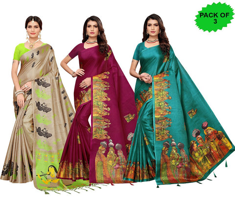 Pack of 3 - Multi Color Khadi Jhalor Women's Sarees - S183226, S184827, S184821