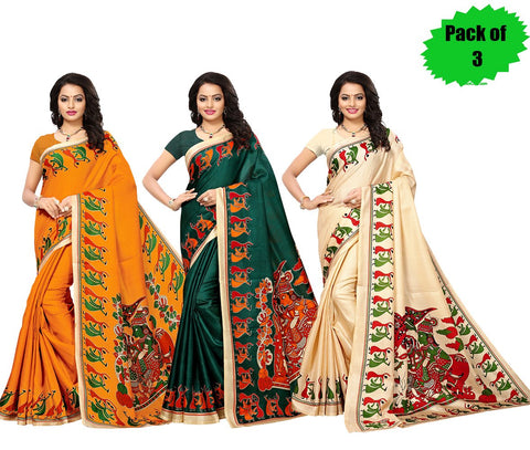 Pack of 3 - Multi Color Art Silk Women's Sarees - S181784, S181782, S181783