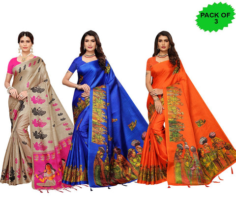 Pack of 3 - Multi Color Khadi Jhalor Women's Sarees - S183227, S184817, S184818