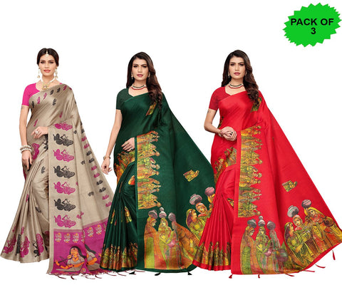 Pack of 3 - Multi Color Khadi Jhalor Women's Sarees - S183228, S184819, S184825